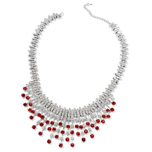 Ruby Colour Crystal Waterfall Necklace (Size 18) in Silver Tone