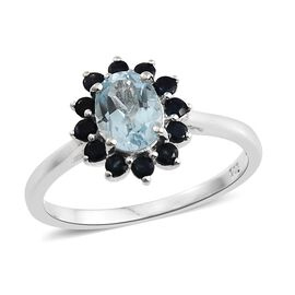 Espirito Santo Aquamarine (Ovl 1.10 Ct), Kanchanaburi Blue Sapphire Ring in Sterling Silver 1.500 Ct.