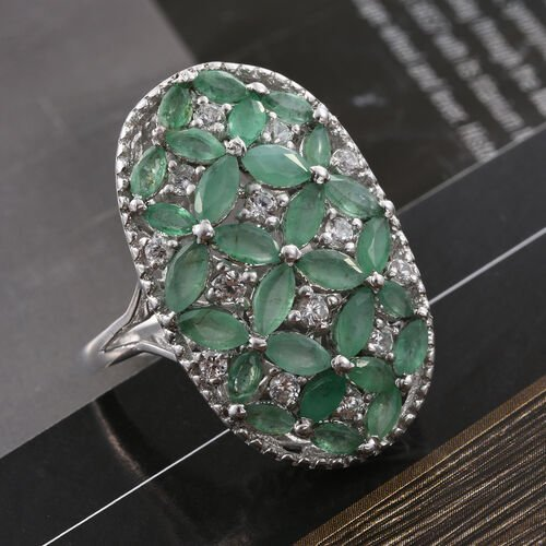 Kagem Zambian Emerald (Mrq), Natural Cambodian Zircon Floral Ring in Platinum Overlay Sterling Silver 3.000 Ct.
