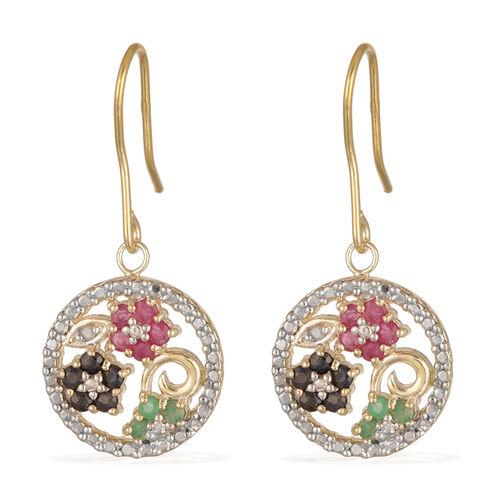 JCK Vegas Collection Burmese Ruby (Rnd), Sapphire Topaz, Kagem Zambian Emerald and Diamond Earrings in 14K Gold Overlay Sterling Silver 0.700 Ct.