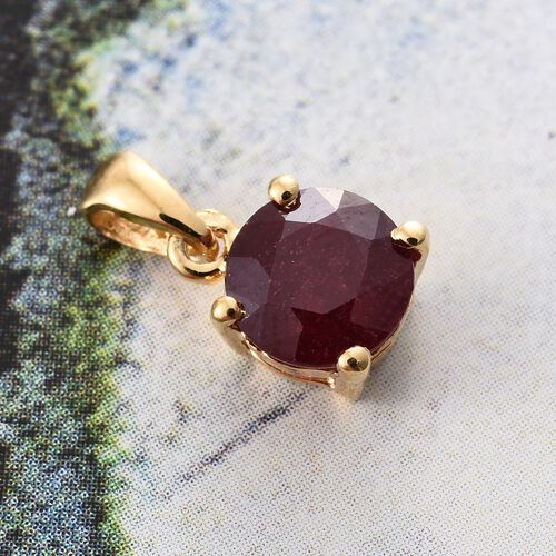 African Ruby (Rnd) Solitaire Pendant in 14K Gold Overlay Sterling Silver 1.250 Ct.