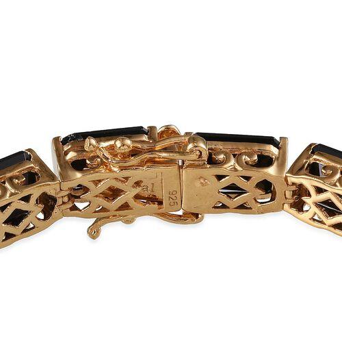 Boi Ploi Black Spinel (Oct) Bracelet in 14K Gold Overlay Sterling Silver (Size 7.5) 55.000 Ct.