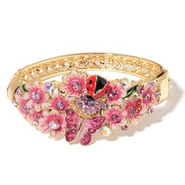 Hand Crafted - AAA Pink and Purple Austrian Crystal Multi Colour Enameled Lady Bird, Butterfly and Flowers Bangle (Size 8)