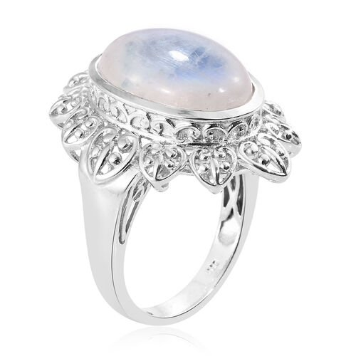 Rare Size AAA Sri Lankan Rainbow Moonstone (Ovl) Art Deco Ring in Platinum Overlay Sterling Silver 13.000 Ct. Silver wt 7.89 Gms.