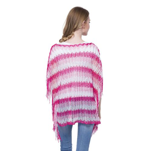 White, Dark and Light Fuchsia Colour Stripe Pattern Poncho (Size 90x55 Cm) and White Colour Vest (Size 60x55 Cm)
