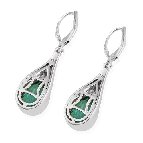 Peacock Quartz (Pear) Lever Back Earrings in Platinum Overlay Sterling Silver 7.250 Ct.