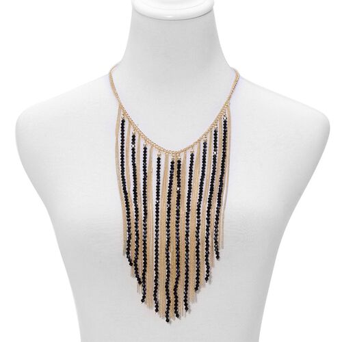 Black Colour Seed Beads Necklace (Size 20) in Gold Tone