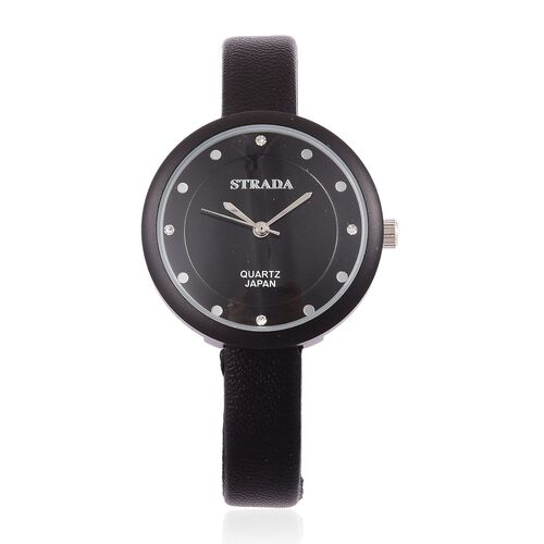 STRADA Japanese Movement White Austrian Crystal Watch with Stainless Steel Back and Black Colour Strap
