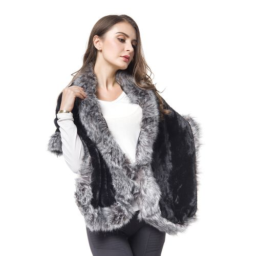 Designer Inspired-Black and Grey Colour Faux Fur Shawl (Size 150X40 Cm)