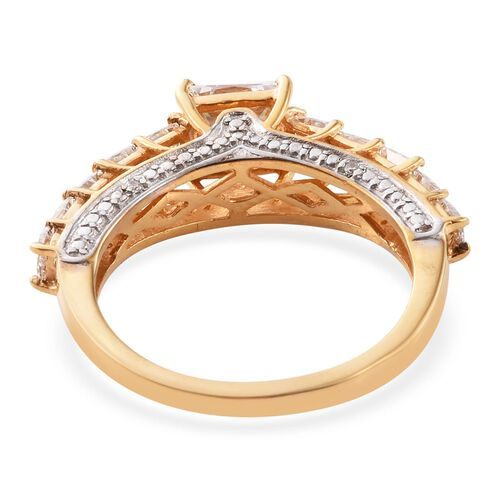 J Francis - 14K Gold Overlay Sterling Silver Princess Cut (Sqr) Ring Made with SWAROVSKI ZIRCONIA