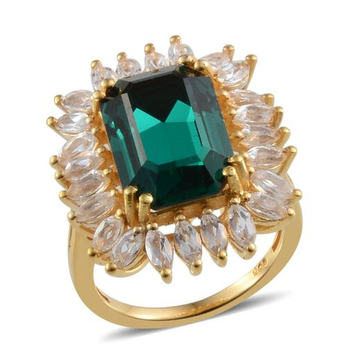 Crystal from Swarovski - Emerald Colour Crystal (Oct 6.25 Ct), White Topaz Ring Yellow Gold Overlay Sterling Silver 8.750 Ct.