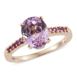 Celebrity Inspired - ILIANA 18K Y Gold AAAA Brazilian Kunzite (Ovl 3.35 Ct), AAAA Pink Sapphire Ring 3.500 Ct.