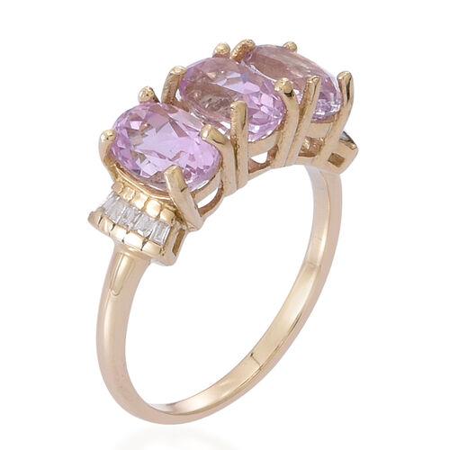 9K Y Gold AAA Urucum Kunzite (Ovl), Diamond Ring 3.500 Ct.