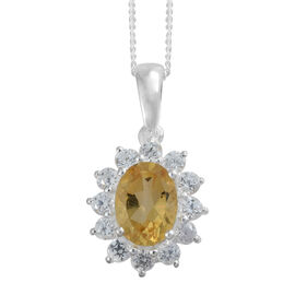 Designer Inspired - Citrine (Ovl 8x6mm, 1.10 Ct), Natural Cambodian Zircon Pendant with Chain in Sterling Silver 1.750 Ct.