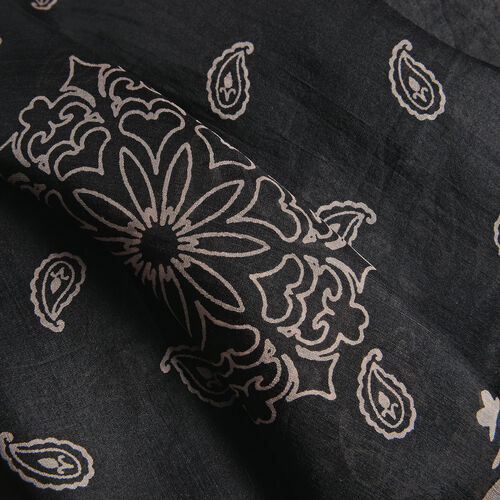 100% Mulberry Silk Black and Pink Colour Handscreen Paisley Printed Kaftan (Free Size)
