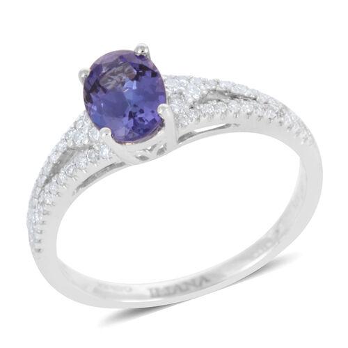 ILIANA 18K White Gold AAA Tanzanite (Ovl 1.10 Ct), Diamond (SI G-H) Ring 1.350 Ct.