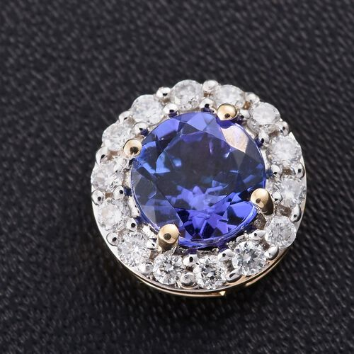New York Collection - 14K Y Gold AAA Tanzanite (Rnd 1.00 Ct), Diamond (I3/G-H) Pendant 1.200 Ct.