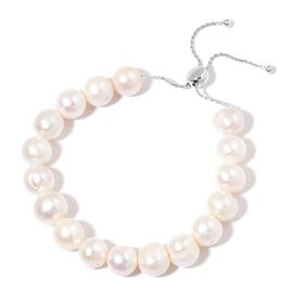 Christmas Cracker Deal- AAA Fresh Water White Pearl Size 11-12 mm Adjustable Bracelet (Size 6.5 to 9) in Rhodium Plated Sterling Silver