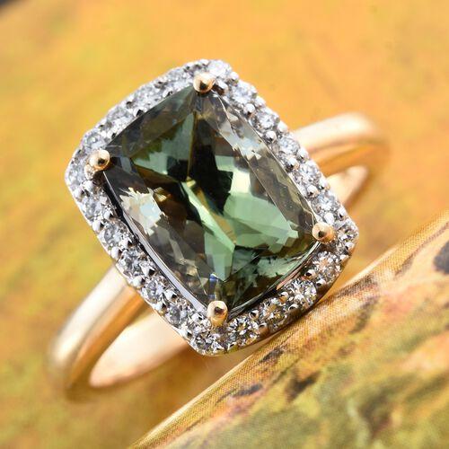 ILIANA 18K Yellow Gold Very Rare 4.30 Ct AAA Peacock Tanzanite Halo Ring with Diamond SI G-H