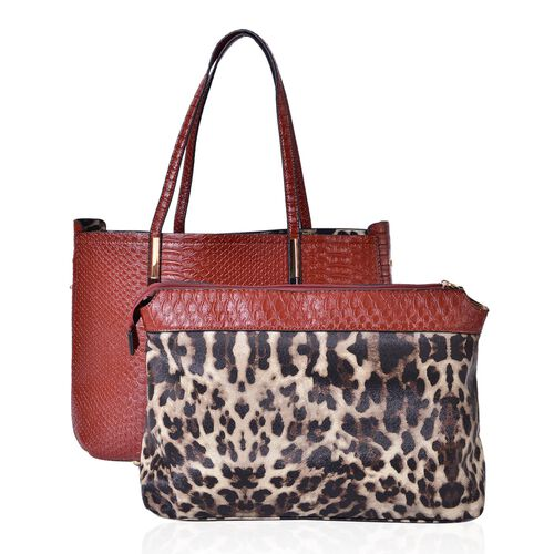 Set of 2 - Tan and Chocolate Colour Snake Embossed Handbag (Size 38X26X13 Cm) and Leopard Pattern Pouch (Size 32.5X23.5X12.5 Cm)