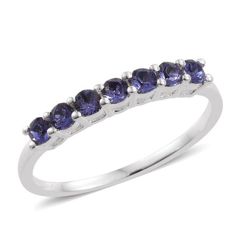 Set of 3 - J Francis Crystal from Swarovski - Peridot Colour Crystal, Rubellite Colour Crystal and Tanzanite Colour Crystal 7 Stone Ring in Sterling Silver
