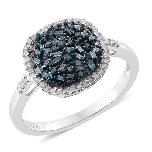 Blue Diamond (Bgt), White Diamond Cluster Ring in Platinum Overlay Sterling Silver 0.750 Ct.