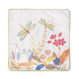 DOD - 100% Cotton White and Multi Colour DragonFly Embroidered Cushion Cover (Size 45x45 Cm)