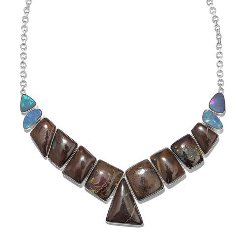 One Off A Kind- Boulder Opal Rock and Opal Double Necklace (Size 18 with 1 inch Extender) in Sterling Silver 225.050 Ct. Silver wt. 29.79 Gms.