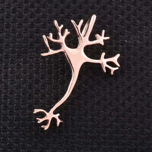 Science Jewellery - Dendritic Neuron Silver Pendant in Rose Overlay