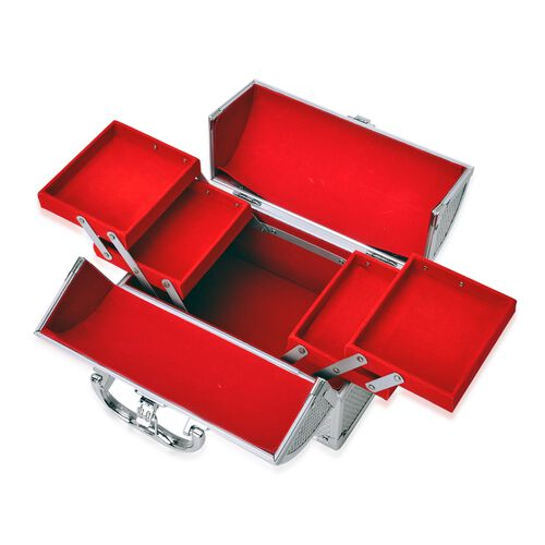 Silver Colour Three Layer Multi Functional Jewellery, Sewing, Watch, Makeup, Jewellery Box with 4 Extendable Trays and Red Velvet Lining Inside (Size 24X17X15 Cm)