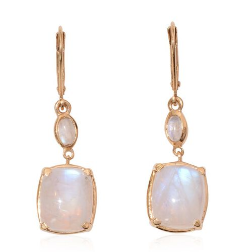 Rainbow Moonstone (Cush) Earrings in 14K Gold Overlay Sterling Silver 13.000 Ct.