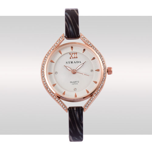 STRADA - Black and Grey MOSAIC Japanese Movement Rose Gold Tone Time Piece.