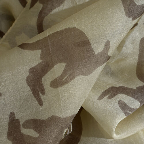 100% Mulberry Silk Off White and Faded Black Kangaroo Pattern Pareo (Size 180x100 Cm)