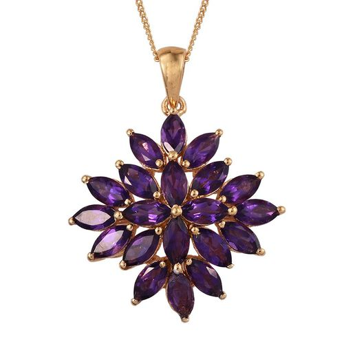 Rare Uruguay Amethyst (Mrq) Floral Pendant With Chain in 14K Gold Overlay Sterling Silver 4.250 Ct.