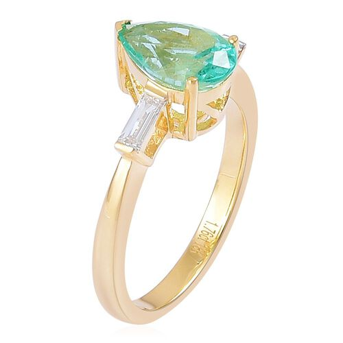 ILIANA 18K Y Gold AAA Boyaca Colombian Emerald (Pear 1.75 Ct), Diamond (SI/G-H) Ring 2.000 Ct.