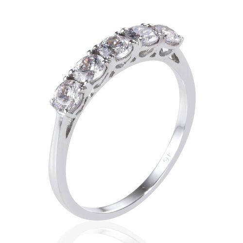 9K W Gold (Rnd) 5 Stone Ring Made with SWAROVSKI ZIRCONIA 1.250 Ct.