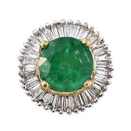 ILIANA 0.85 Ct AAA Kagem Zambian Emerald and Diamond (SI/G-H) Halo Pendant in 18K Gold