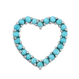 1 Carat Sleeping Beauty Turquoise Heart Pendant in Platinum Plated Silver