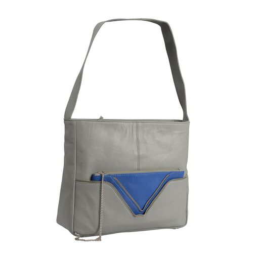 PREMIER COLLECTION- 100% Genuine Top Grain Leather RFID Blocker Grey and Royal Blue Colour Handbag With 100% Genuine Leather Clutch (Size 30X25X10 Cm) with Pouch (Size 24X13 Cm)