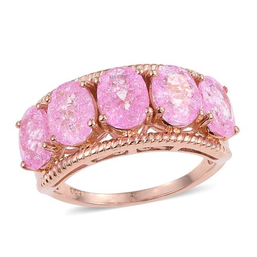 Hot Pink Crackled Quartz (Ovl) 5 Stone Ring in Rose Gold Overlay Sterling Silver 5.500 Ct.