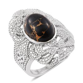 Mojave Black Turquoise (Ovl) Ring in Platinum Overlay Sterling Silver 6.000 Ct.