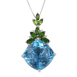 Extremely Rare Size-Swiss Blue Topaz (Cush 18X18 mm), Russian Diopside and Natural White Cambodian Zircon Pendant with Chain in Rhodium and Platinum Overlay Sterling Silver 32.020 Ct.Silver wt 7.26 Gm