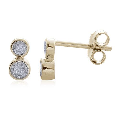 9K Yellow Gold SGL Certified 0.25 Carat Diamond Round (I3/G-H) Stud Earrings.