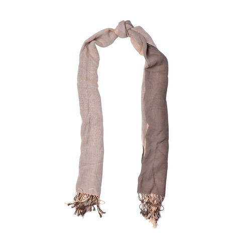 100% Wool Light and Dark Chocolate Colour Scarf with Tassels (Size 180x70 Cm)