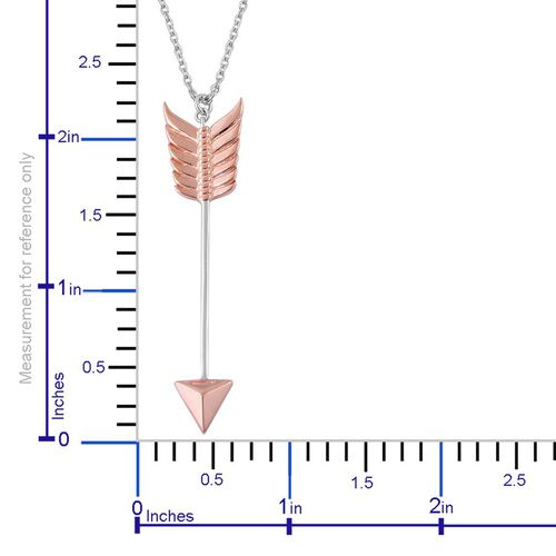 LucyQ Arrow Pendant With Chain in Rose Gold and Rhodium Plated Sterling Silver, Silver wt 11.34 Gms.