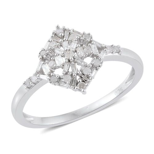 TJC Exclusive - Diamond (Rnd) Ring in Platinum Overlay Sterling Silver 0.330 Ct.