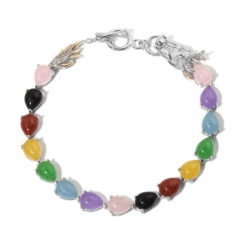 Pink Jade (Pear), Red Jade, Blue Jade, Chinese Green Jade, Black Jade, Purple Jade, Yellow Jade, and Multi Gem Stone Dragon Bracelet (Size 7.5) in Yellow Gold Overlay and Sterling Silver 22.920 Ct.
