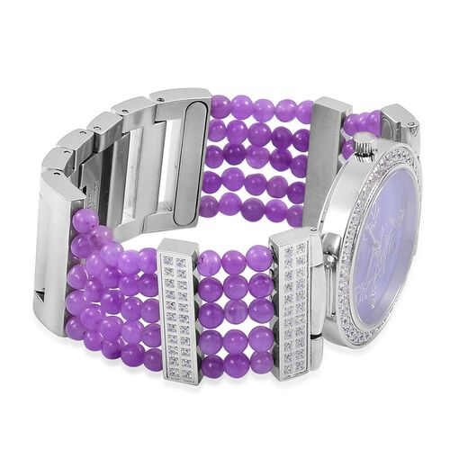 EON 1962 Swiss Movement Diamond Studded MOP Dial Watch with Simulated White Diamond in Silver  Plated with Burmese Purple Jade Strap 52.360 Ct.