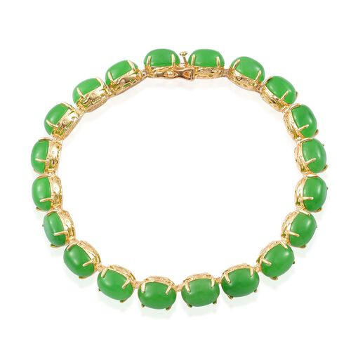 Green Jade (Ovl) Bracelet (Size 7.5) in Yellow Gold Overlay and Sterling Silver 45.000 Ct.