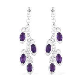 Amethyst (Mrq) Dangle Earrings (with Push Back) in Sterling Silver 2.000 Ct. Silver wt 4.49 Gms.